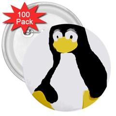 PRIMITIVE LINUX TUX PENGUIN 3  Button (100 pack)