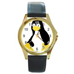 PRIMITIVE LINUX TUX PENGUIN Round Leather Watch (Gold Rim)