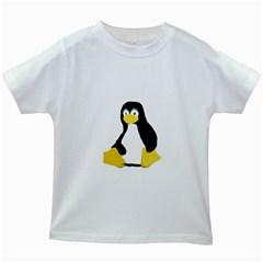 Primitive Linux Tux Penguin Kids' T Shirt (white)