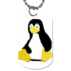 PRIMITIVE LINUX TUX PENGUIN Dog Tag (Two-sided)