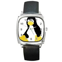 PRIMITIVE LINUX TUX PENGUIN Square Leather Watch