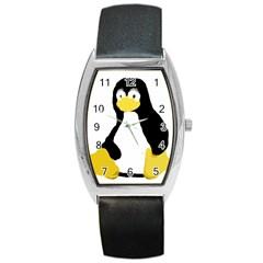 PRIMITIVE LINUX TUX PENGUIN Tonneau Leather Watch