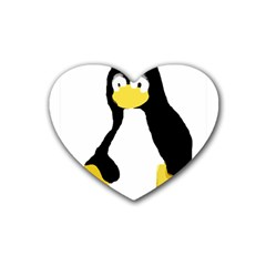 Primitive Linux Tux Penguin Drink Coasters 4 Pack (heart)