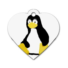 PRIMITIVE LINUX TUX PENGUIN Dog Tag Heart (One Sided)