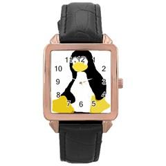 Primitive Linux Tux Penguin Rose Gold Leather Watch