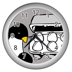 Egg Box Linux Wall Clock (Silver)