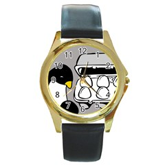 Egg Box Linux Round Leather Watch (gold Rim)