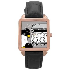 Egg Box Linux Rose Gold Leather Watch