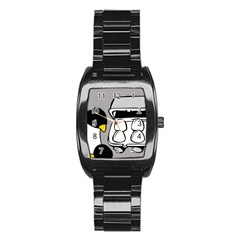 Egg Box Linux Stainless Steel Barrel Watch