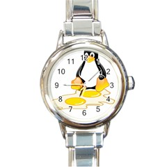 LINUX TUX PENGUIN BIRTH Round Italian Charm Watch