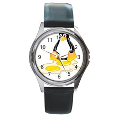Linux Tux Penguin Birth Round Leather Watch (silver Rim)