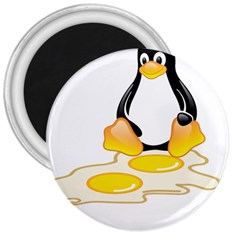 LINUX TUX PENGUIN BIRTH 3  Button Magnet