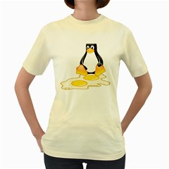 LINUX TUX PENGUIN BIRTH  Womens  T-shirt (Yellow)