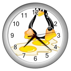 LINUX TUX PENGUIN BIRTH Wall Clock (Silver)