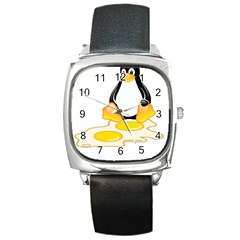 LINUX TUX PENGUIN BIRTH Square Leather Watch