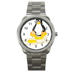 LINUX TUX PENGUIN BIRTH Sport Metal Watch