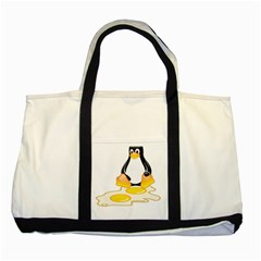 Linux Tux Penguin Birth Two Toned Tote Bag