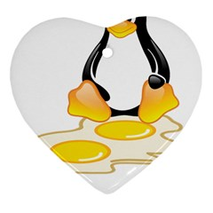Linux Tux Penguin Birth Heart Ornament (two Sides)