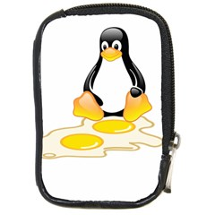 LINUX TUX PENGUIN BIRTH Compact Camera Leather Case