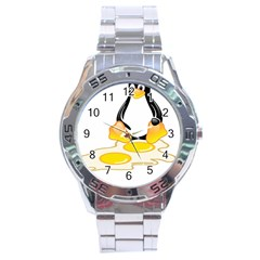 Linux Tux Penguin Birth Stainless Steel Watch