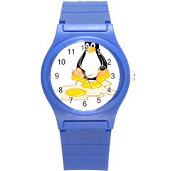 Linux Tux Penguin Birth Plastic Sport Watch (small)