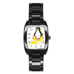 LINUX TUX PENGUIN BIRTH Stainless Steel Barrel Watch