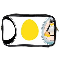Linux Tux Penguin In The Egg Travel Toiletry Bag (two Sides)