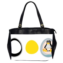 LINUX TUX PENGUIN IN THE EGG Oversize Office Handbag (Two Sides)