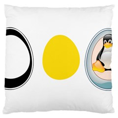 LINUX TUX PENGUIN IN THE EGG Large Cushion Case (Two Sided)
