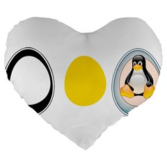 LINUX TUX PENGUIN IN THE EGG 19  Premium Heart Shape Cushion