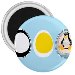 LINUX TUX PENGUIN IN THE EGG 3  Button Magnet