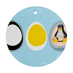 LINUX TUX PENGUIN IN THE EGG Round Ornament