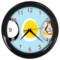 Linux Tux Penguin In The Egg Wall Clock (black)