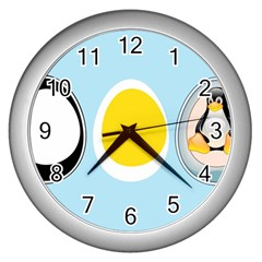 LINUX TUX PENGUIN IN THE EGG Wall Clock (Silver)