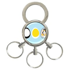 LINUX TUX PENGUIN IN THE EGG 3-Ring Key Chain