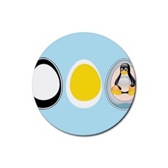 LINUX TUX PENGUIN IN THE EGG Drink Coasters 4 Pack (Round)