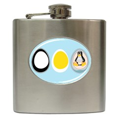 LINUX TUX PENGUIN IN THE EGG Hip Flask