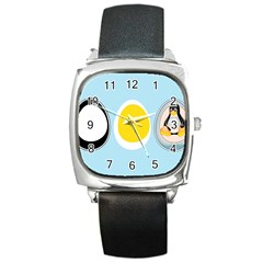 LINUX TUX PENGUIN IN THE EGG Square Leather Watch