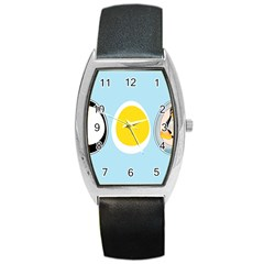LINUX TUX PENGUIN IN THE EGG Tonneau Leather Watch