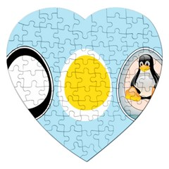 LINUX TUX PENGUIN IN THE EGG Jigsaw Puzzle (Heart)
