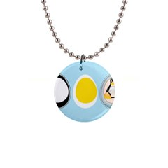 Linux Tux Penguin In The Egg Button Necklace