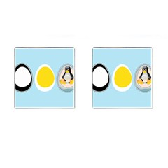LINUX TUX PENGUIN IN THE EGG Cufflinks (Square)