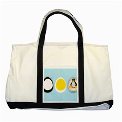 LINUX TUX PENGUIN IN THE EGG Two Toned Tote Bag