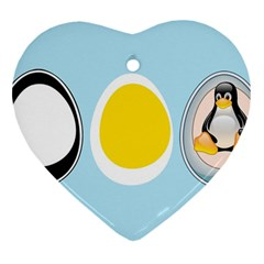 Linux Tux Penguin In The Egg Heart Ornament (two Sides)