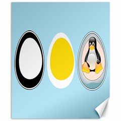 LINUX TUX PENGUIN IN THE EGG Canvas 8  x 10  (Unframed)