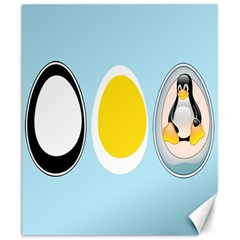 LINUX TUX PENGUIN IN THE EGG Canvas 20  x 24  (Unframed)