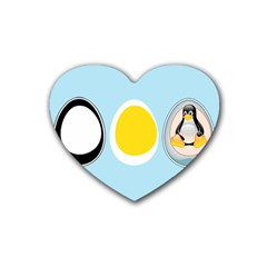 LINUX TUX PENGUIN IN THE EGG Drink Coasters (Heart)