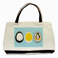 Linux Tux Penguin In The Egg Twin Sided Black Tote Bag