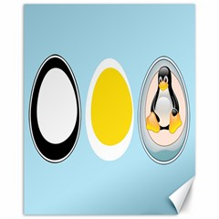 LINUX TUX PENGUIN IN THE EGG Canvas 11  x 14  (Unframed)