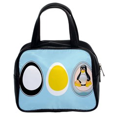 Linux Tux Penguin In The Egg Classic Handbag (two Sides)